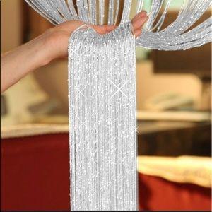 Silver sparkle glitter tassel fringe curtain